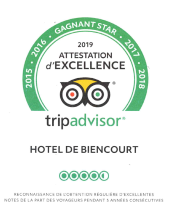 Tripadvisor Attestation d'excellence 2014 à 2018
